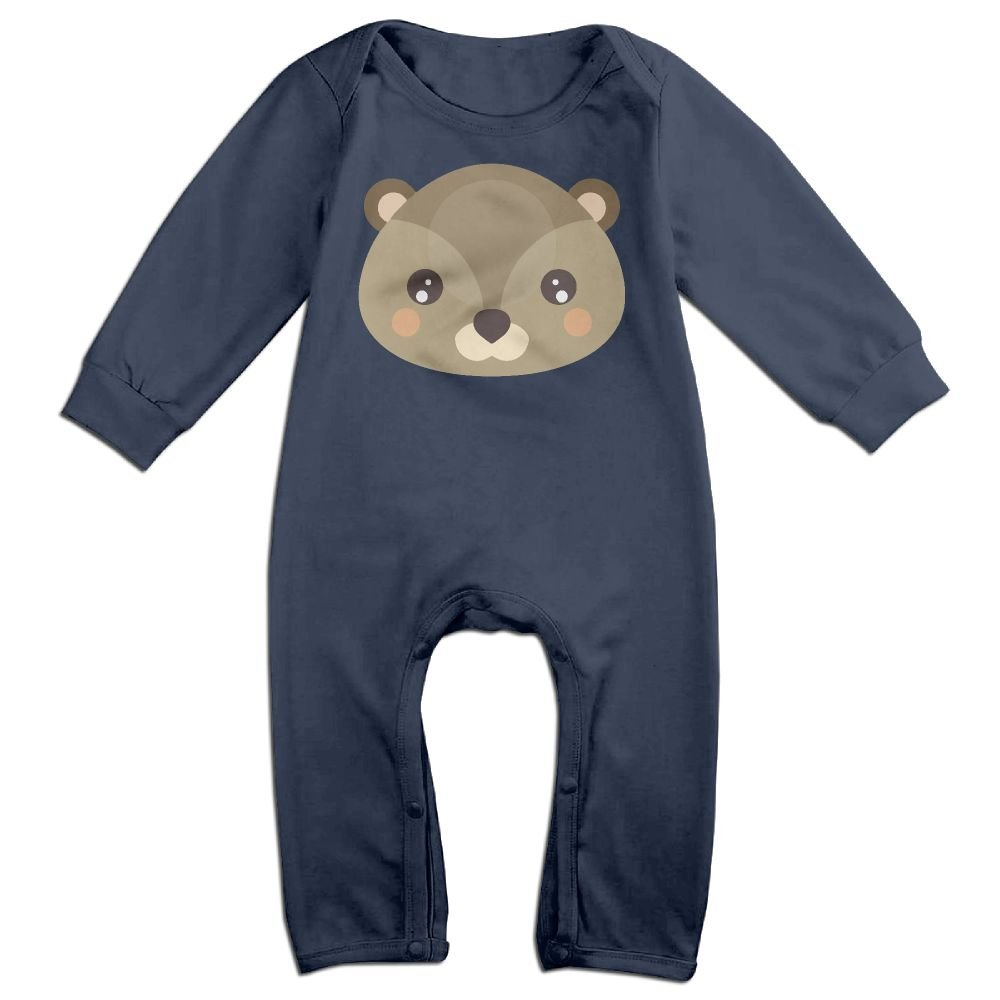Mri-le1 Newborn Baby Long Sleeved Coveralls Cute Beaver Baby Rompers