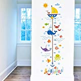 DecalMile Under The Sea Dolphin Fish Height Chart Wall Decals Kids Measure Growth Wall Stickers for Baby Nursery Bedroom Playing Room