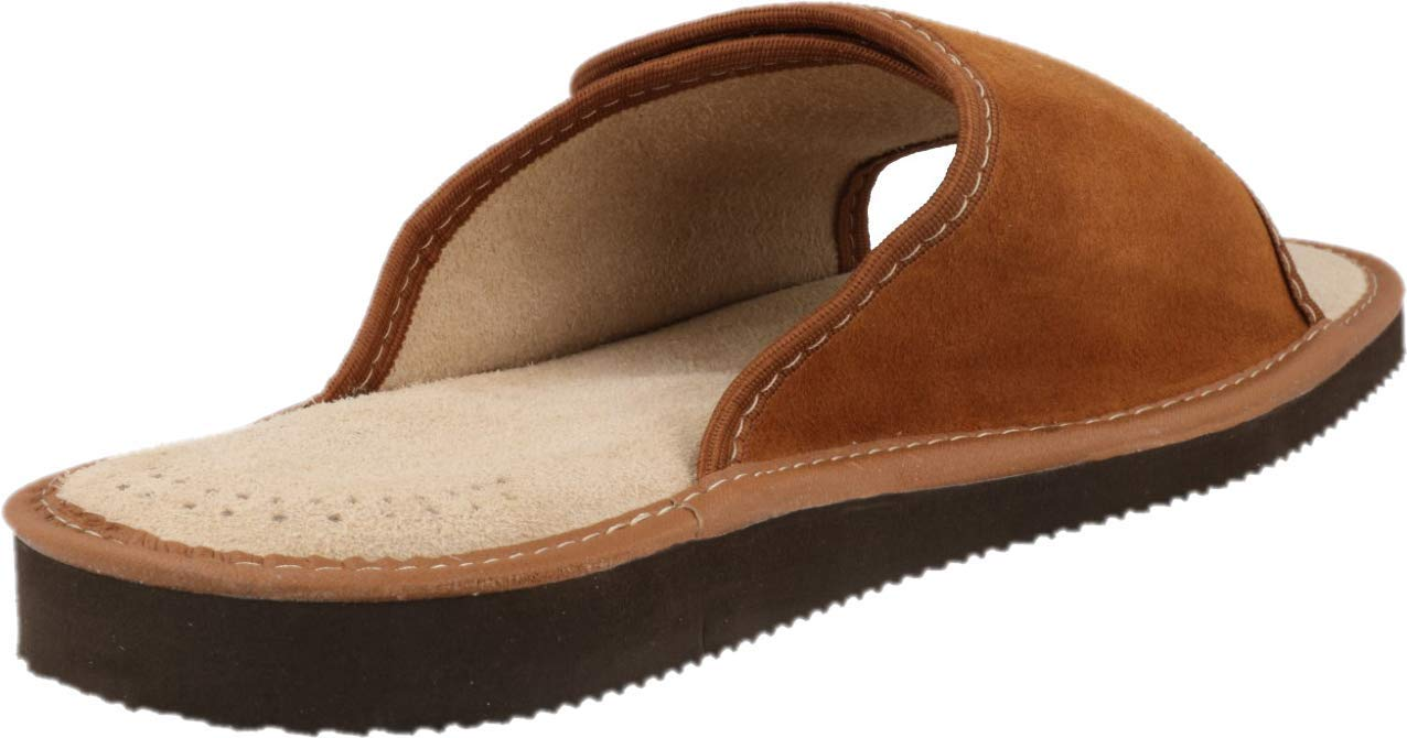 FOOTHUGS Men\'s Open Toe Adjustable Suede Leather Slippers with Memory Foam Ortopaedic Insole (9 UK, Brown)