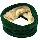 Fheaven Women Men Winter Warm Fur Lined Infinity Cable Knitted Neck Cowl Collar Velvet Scarf Shawl (Green)