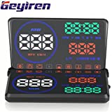 "Geyiren 5.5"" M9 OBDII 2 Car Windshield HUD Head Up Display Colorful Screen Projector HUD Speed Warning RPM Temperature Alarm"