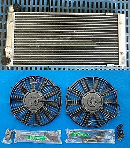 Amazon.com: US Warehouse - Davitu Oil Coolers - Aluminum Radiator + 2 x Fans for VW Golf 2 & Corrado VR6 Turbo Manual MT: Automotive