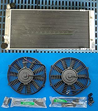US Warehouse - Davitu Oil Coolers - Aluminum Radiator + 2 x Fans for VW Golf