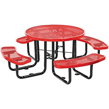 46u0026quot; Round Metal Picnic Table, Surface Mount.