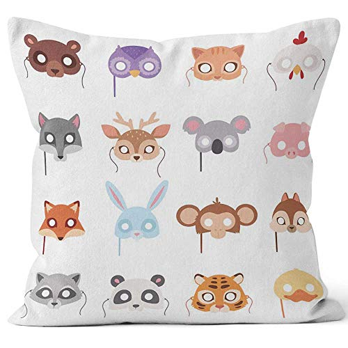 Nine City Set of Cartoon Animals Party Masks Vector Burlap Pillow,HD Printing for Couch Sofa Bedroom Livingroom Kitchen Car,24