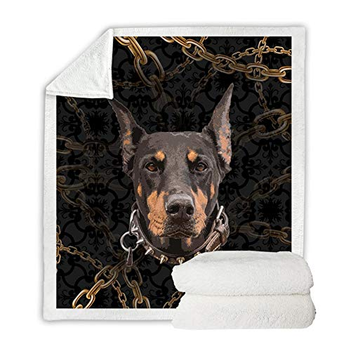 Betterhomeplus Velvet Plush Throw Blanket Sherpa Fleece Dog Collection Pug Husky Doberman Rottweiler Pet Lover Warm Soft Comfort Girls Kids Sleeping Reading Home Ornament (Doberman, 150x200cm)