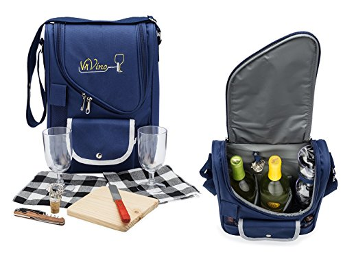 [VaVino Wine and Cheese Picnic Set Bag (Navy Blue) 9-Piece Deluxe Set with 18-Hour Insulation - Fits 2 Bottles and Comes with Everything You Need for a Picnic for 2. Perfect Gift for Wine Lovers!] (Need Gift Basket Supply)