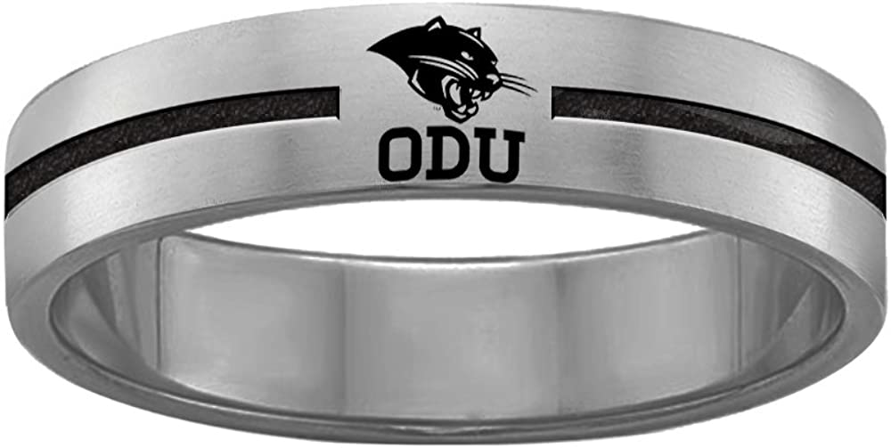 College Jewelry Quad Logo Ohio Dominican Panthers Rings Stainless Steel 8MM Wide Ring Band