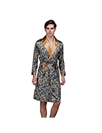 J.cotton Men's Shawl Collar Kimono Satin Robe bathrobe/sleepwear/ Pajama