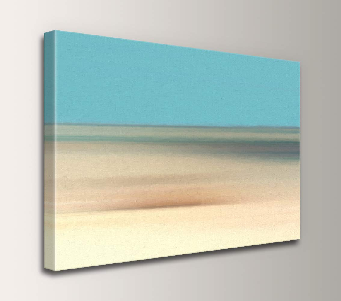 Coastline – Aqua Blue and Tan Abstract Landscape Wall Decor