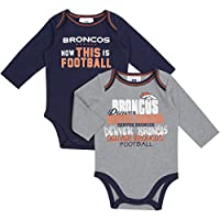 Denver Broncos Baby Football Bodysuits 2 Pack, 0-3 Months