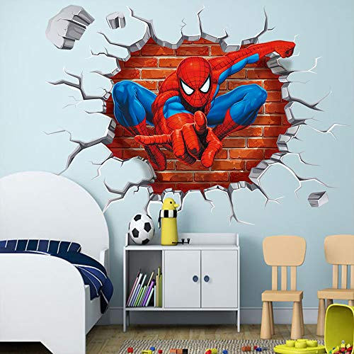 - Yu Li DIY Self-Adhesive Removable 3D Spiderman Cracked Children Themed Art Boy Room Vinyl Wall Sticker Home Decal, Peel and Stick Wall Decal for Kids Room Wall Decor