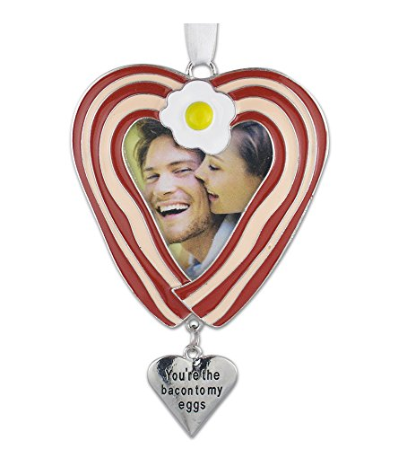 Car Photo Charm (Bacon Ornament -- Heart Shaped Bacon and Eggs Photo Ornament with an Engraved Heart Charm That Reads You're the Bacon to My Eggs -- Husband, Wife, Boyfriend, Girlfriend, Bacon Lover)