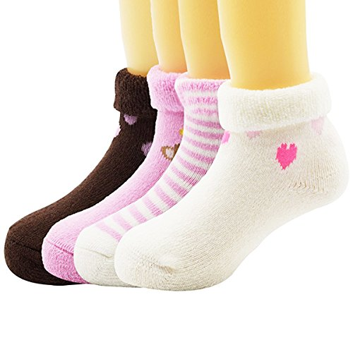 Century Star Children Fashion Thermal Cozy Baby Girls Socks Great Gift 4 Pack Pink M(1-3 years - Cost Usps Day Two Delivery
