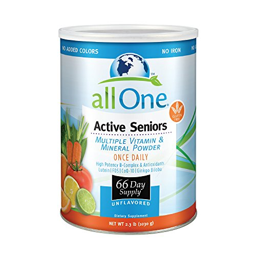 allOne Multiple Vitamin & Mineral Powder, for Active Seniors | Once Daily Multivitamin, Mineral & Amino Acid Supplement w/4g Protein | 66 Servings