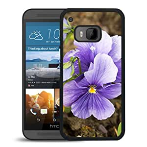 Unique DIY Designed Cover Case For HTC ONE M9 With Purple Pansies Flower Mobile Wallpaper Phone Case