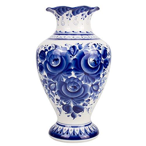Hand-Painted Blue and White Porcelain Vase Tenderness Flower - Decorative Vase - Gzhel Wall ()