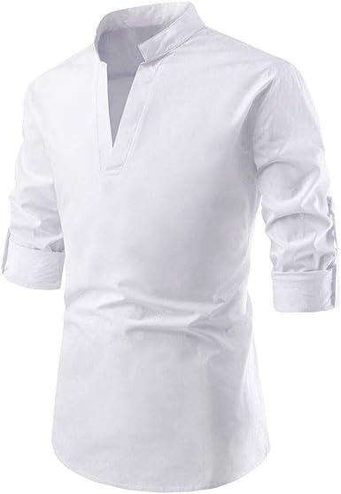 Blusas Elegantes Hombre Camisa de Manga Larga con Bolsillo de Empalme a Rayas Blusa de Manga