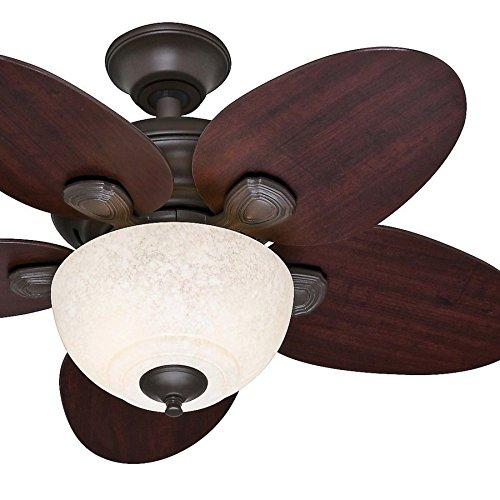 Hunter Fan 34 inch Small Room Ceiling Fan in New Bronze with Amber Scavo Glass Light Kit Renewed