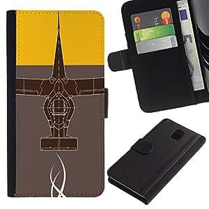 LECELL--Cuero de la tarjeta la carpeta del tirón Smartphone Slots Protección Holder For Samsung Galaxy Note 3 III -- Diseño abstracto --