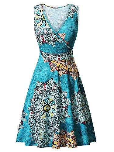 GUBERRY Womens Summer Dresses V-Neck Cross Wrap Flare Midi Floral Print Sun - Sun Cross