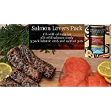 Smoked Salmon Lovers Gift Pack Basket Featuring Wild Pacific Canadian Salmon Lox and Indian Salmon Candy Cured with Grade A Maple Syrup Gourmet Gift