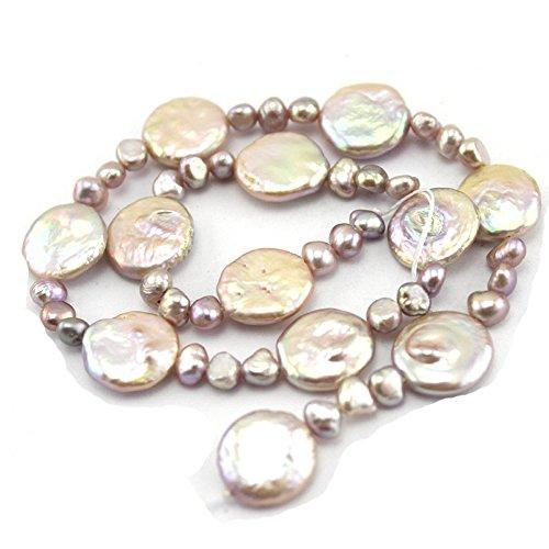 (SR BGSJ Jewelry Making Craft Natural 4-5mm Baroque & 14mm Coin Purple Freeform Freshwater Pearl Gemstone Beads Jewelry Making Strand 15