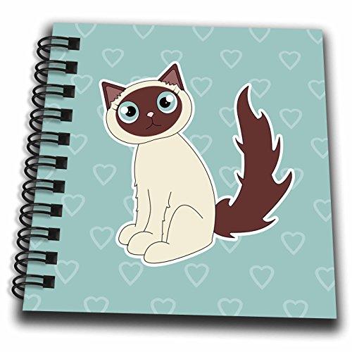 3dRose db_110770_3 Kawaii Cats-Cute Siamese Kitty-Mini Notepad, 4 by 4