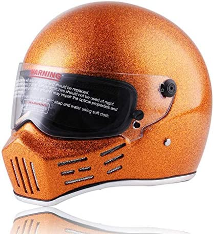 ZJJ ヘルメット- ユニセックスフルカバーヘルメット、雨および紫外線保護ヘルメット、ブラウンレンズ (色 : Orange, サイズ さいず : M)