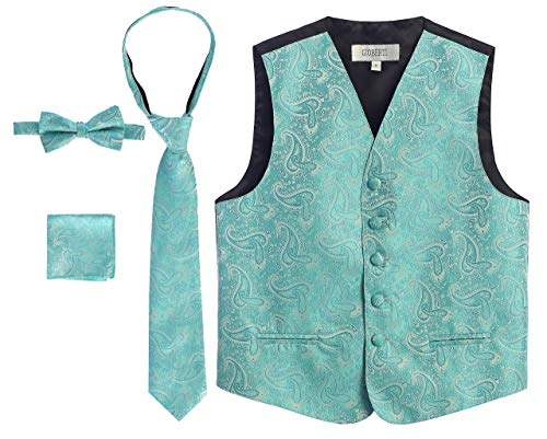 Gioberti Boy's 4 Piece Formal Paisley Tuxedo Vest, Bowtie, Tie, Pocket Square Set