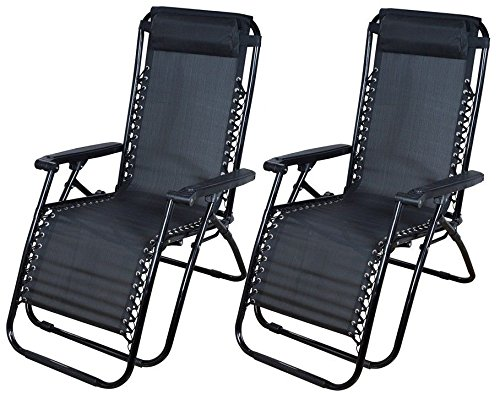 2 Outdoor Zero Gravity Lounge Chair Beach Patio Pool Yard Folding Recliner  Black By Barnes Corp