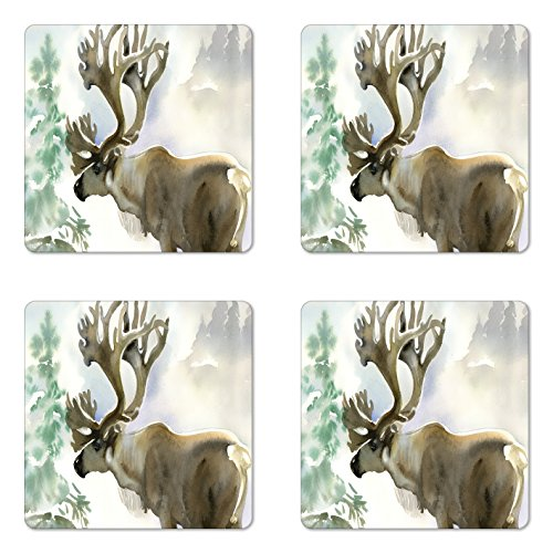 Ambesonne Antlers Coaster Set of Four, Moose in Winter Forest Wildlife Reindeer Christmas Theme Watercolor Painting Style, Square Hardboard Gloss Coasters for Drinks, Beige ()