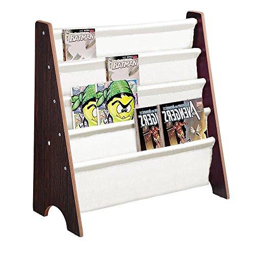 (Aromzen Wood Kids Book Shelf Sling Storage Rack Organizer Bookcase Display Holder)