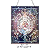 HF-170 Vintage Tiffany Style Stained Glass Decorative Mystical Figure Window Hanging Glass Panel Suncatcher, 26.5''x20''