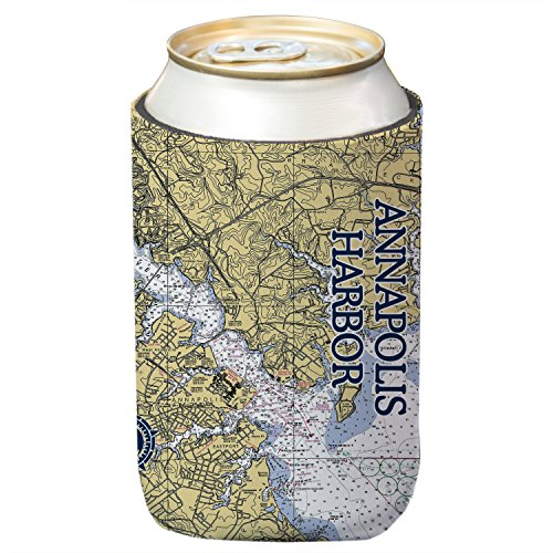 Altered Latitudes Annapolis Harbor Chart Standard Can Cooler (4-Pack)