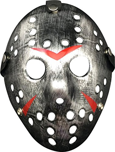 Friday the 13th Jason Hockey Horror Deluxe Mask,Sliver (Hockey Mask Halloween Costume)