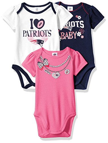 NFL New England Patriots Girls Short Sleeve Bodysuit (3 Pack), 0-3 Months, Pink