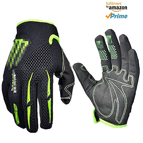 warmsport Black Green Gloves Cycling Gloves Mountain Bike Gloves Road Racing Bicycle Gloves Motorcycle Gloves Full Finger Gloves Thor ghostcrawler Gloves Men/Women Work (Green Dirt Bike)