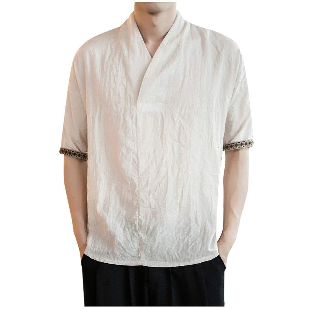 Mr.Macy Mens New Summer Casual Short-Sleeved Shirt Fashion Cotton Linen Blouse Top