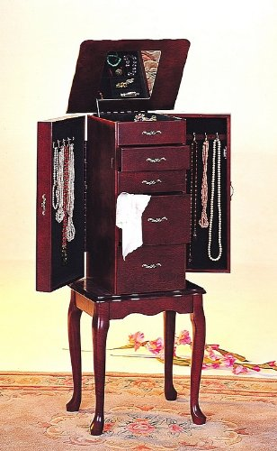 (AtHomeMart Queen Anne style jewelry armoire in Cherry finish)