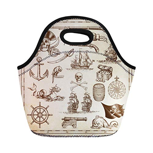Semtomn Lunch Tote Bag Collection of Very High Detail Ornaments Designed to Illustrate Reusable Neoprene Insulated Thermal Outdoor Picnic Lunchbox for Men Women