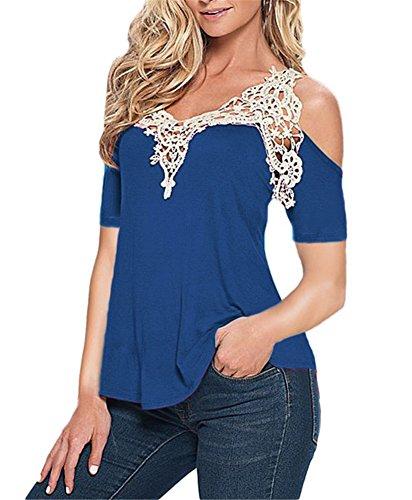 Ussuperstar Women's Loose Lace Crochet Off-Shoulder Blouse Top (Mardi Gras Outfits Plus Size)