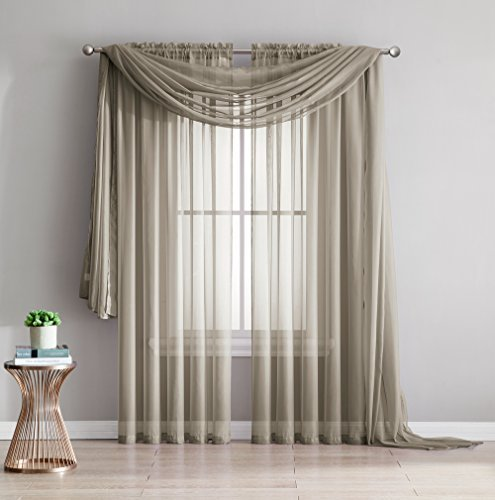 - Amazing Sheer - 2-Piece Rod Pocket Sheer Panel Curtains Fabric Sheer - Voile Curtains for Window Treatment - Natural Light Flow (56