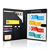 Padfolio Business/Resume Portfolio, AHGXG Leather Folder with Clipboard Document Organizer with Paper Clip, Legal Writing Pad, Pen Holder, Magnetic Closure and Pockets Contrast Stitch for Interview
