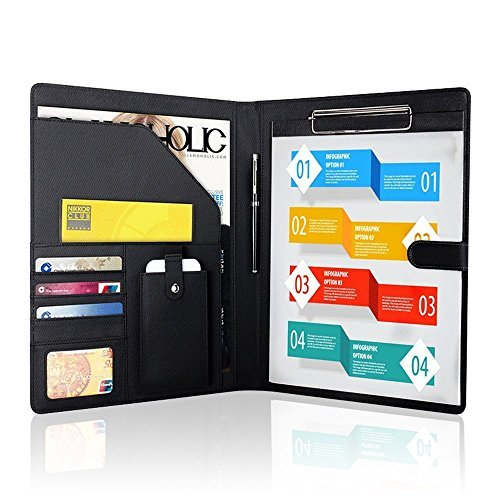 Padfolio Business/Resume Portfolio, AHGXG Leather Folder with Clipboard Document Organizer with Paper Clip, Legal Writing Pad, Pen Holder, Magnetic Closure and Pockets Contrast Stitch for (Clip Folder)