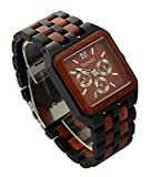 Topwell Square Multi-Eyed Hypoallergenic Wood Watches Black and Red Wood For Christmas gifts