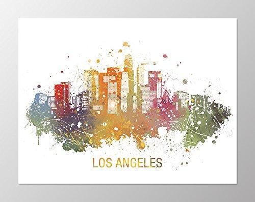 (11x14 Los Angeles skyline poster #A104. Art.Los Angeles skyline painting. Los Angeles wall art. Los Angeles poster.art print.Poster of Los Angeles.Watercolor.Los Angeles City Skyline poster.)