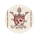 Hearts Spade Red Crown Skeleton Poker Card Anti-slip Floor Pet Mat Round Bathroom Living Room Kitchen Door 80cm Gift