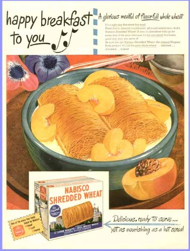 Delicious Culinary Artwork Shown in 1946 Nabisco Shredded Wheat Advertising Original Paper Ephemera Authentic Vintage Print Magazine Ad/Article