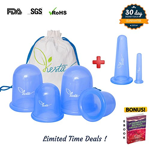 Kestie Anticellulite Vacuum Suction Cups – High Grade Hypoallergenic Silicone for Safe Cellulite Removal – Superior Suction Treats Stretch Marks & Acne – Bonus 6 Pack for All Body Massage with e-Book